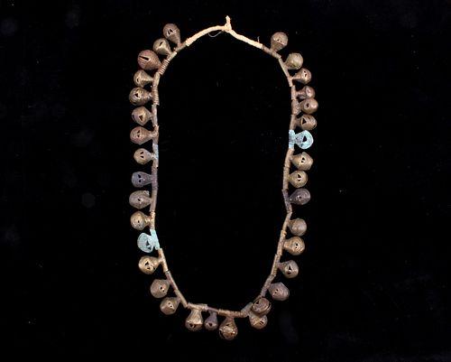 19th C African Yoruba Ivory Coastal Brass Necklace