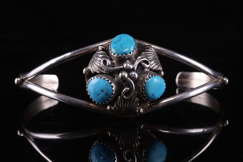 Navajo Johnson Ralph Silver and Turquoise Bracelet