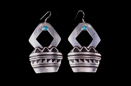 Navajo T & R Singer Sterling & Turquoise Earrings