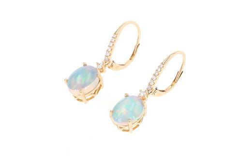 Ethiopian Opal & Diamond 14k Yellow Gold Earrings