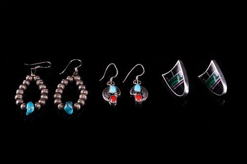 Navajo Signed Sterling Silver Multi Stone Earrings