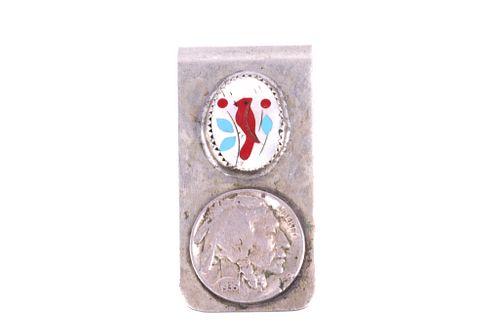 Navajo Micro Cardinal Inlaid Coin Money Clip