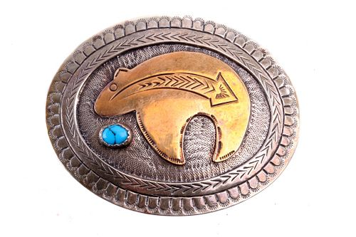 Native American Silver & Brass Bear Belt Buckle