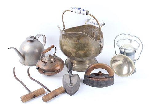 Assorted Pots, Clothing Iron, Lantern, & Hay Hooks