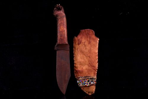 Northern Plains Indians Trade Knife Beaded Sheath