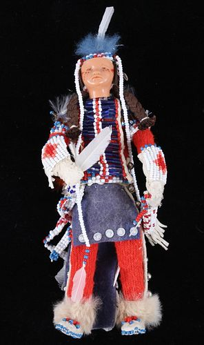 Crow Beaded Hide Doll from Montana