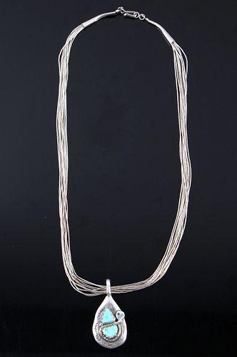 Zuni Liquid Silver & Turquoise Pendant Necklace