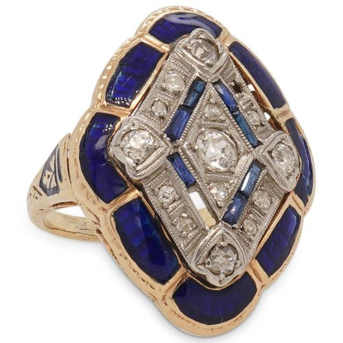 14K Yellow Gold, Diamond, & Blue Enamel Ring