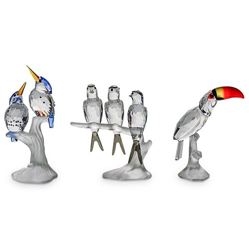 (3 Pc) Swarovski Crystal Bird Figurine Grouping