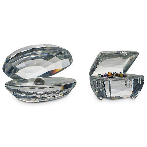 (2 Pc) Swarovski Crystal Treasures Box Figurines