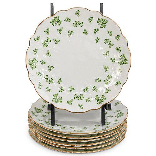 "(7 Pc) Aynsley ""Green Irish Shamrocks"" Porcelain Plates"