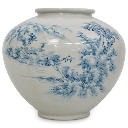 Antique Japanese Blue & White Porcelain Vase