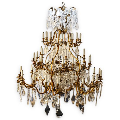 Monumental French Bronze & Crystal Chandelier
