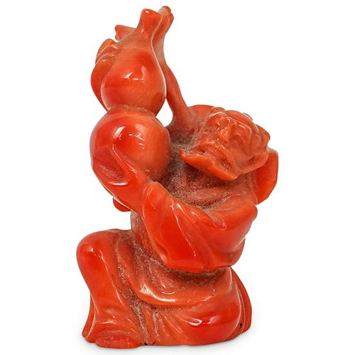 Antique Japanese Carved Red Coral Figure