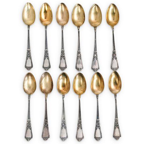 Antique L. Michaud 800 Silver Teaspoons Set