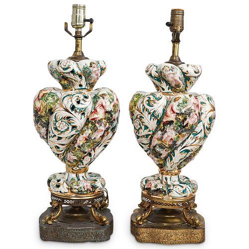 (2 Pc) Pair of Capodimonte Porcelain Lamps