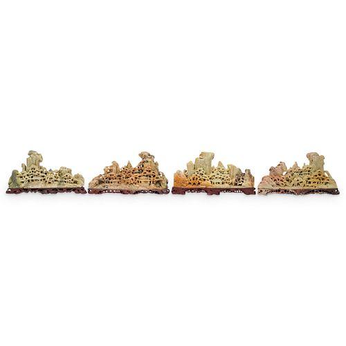 (4 Pc) Chinese Soapstone Landscape Sculptures