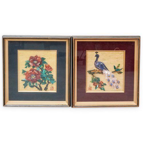 (2 Pc) Asian Three Dimensional Gemstones Paintings