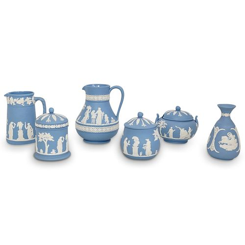 (6 Pc) Wedgwood Blue Biscuit Porcelain Grouping Set