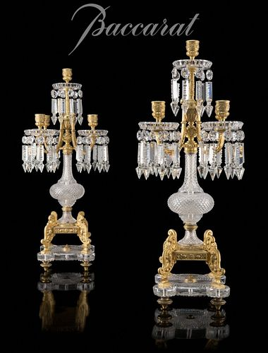 Pair of Baccarat Cut Glass and Gilt Bronze Candelabras