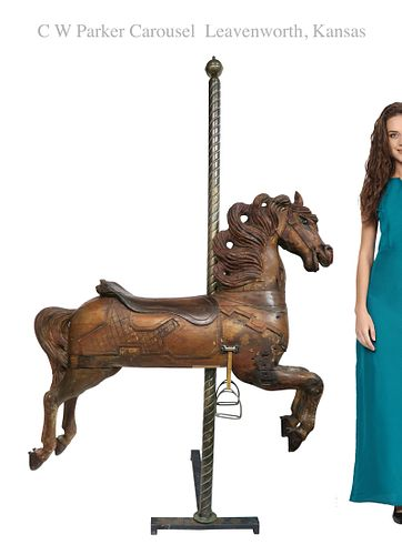 C W Parker Carved Wooden Carousel Horse