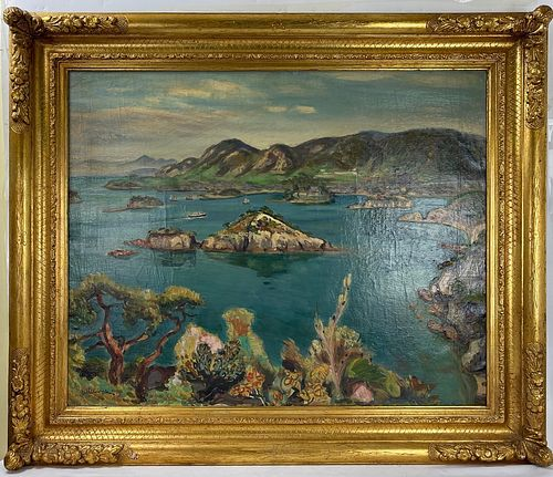 Oil Painting On Canvas Ocean with Islands Signed
