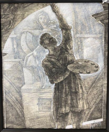 Peter Nixon Mixed Media Drawing, Bounarroti Fresco