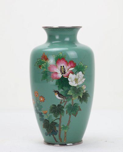 A Japanese Antique Cloisonne Enamel Silver Vase