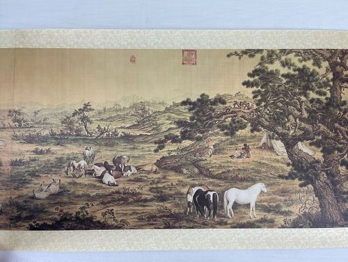 A Print Lang Shining Chinese Painting Scroll On Silk