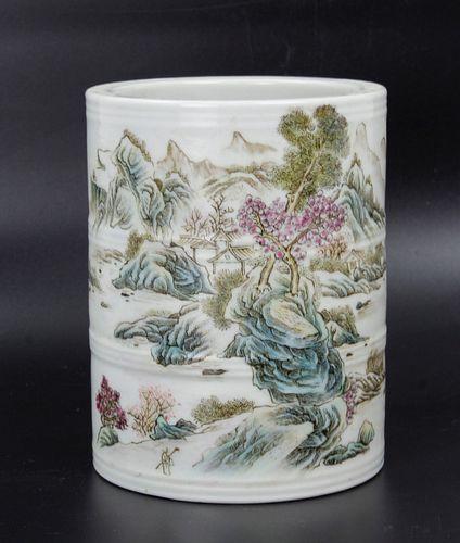 A Famille Rose Porcelain Pen Holder Qianlong Mark