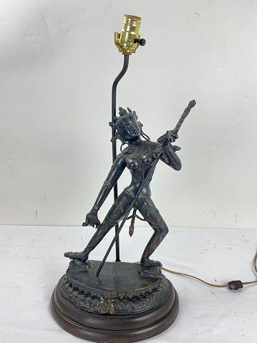 A Vintage India Bronze Statue Lamp