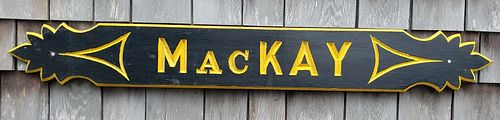 """Vintage Hand Carved and Painted Nantucket Quarterboard, """"MacKAY"""""""