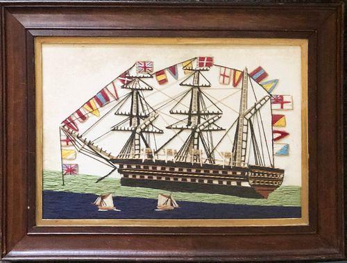 Vintage English Woolie of a Three Mast Man o' War