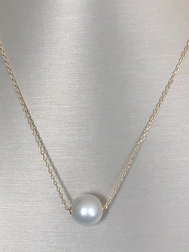 Fine 12mm White South Sea Pearl 14k Yellow Gold Chain Necklace
