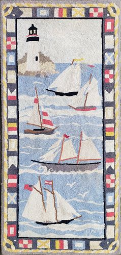 Vintage Claire Murray Nautical Nantucket Hooked Rug Runner