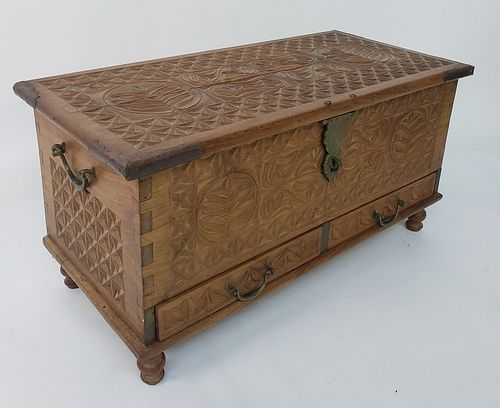 Vintage Anglo Indian Carved and Dovetailed Cedar Storage Trunk