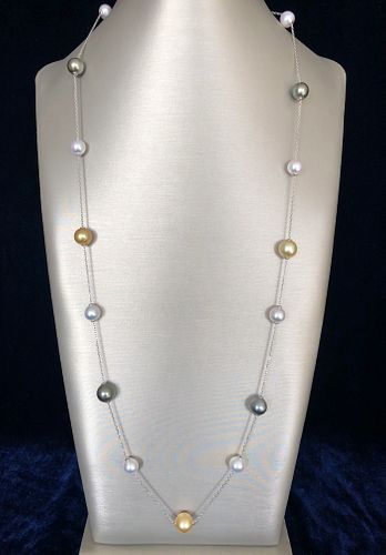 Fine 9mm-11mm South Sea and Akoya Cultured Pearl Necklace
