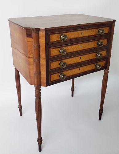 Massachusetts Sheraton Mahogany and Cherry Four Drawer Work Stand, 19th Century