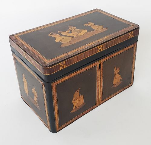Italian Figural Inlaid Double Compartment Tea Caddy, 19th Century