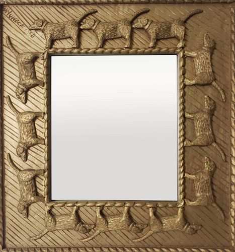 """Vintage Stephen Huneck Composition Painted """"Networking"""" Mirror"""
