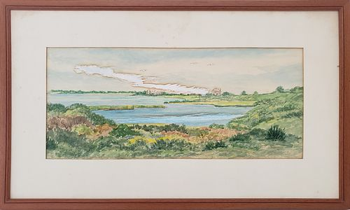 "Harold Humphrey Watercolor ""Abrams Point, Nantucket"""