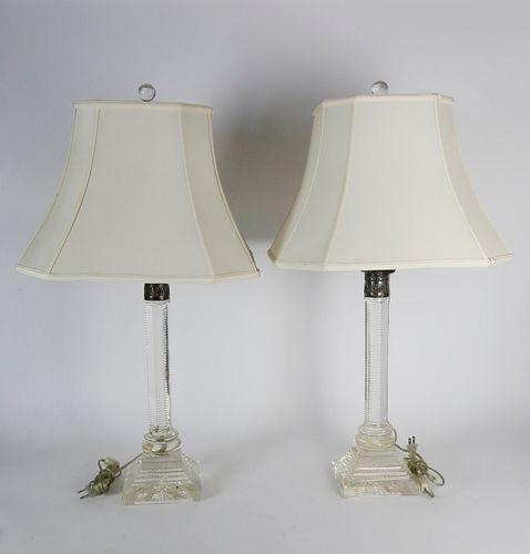Pair of Crystal Corinthian Column Lamps
