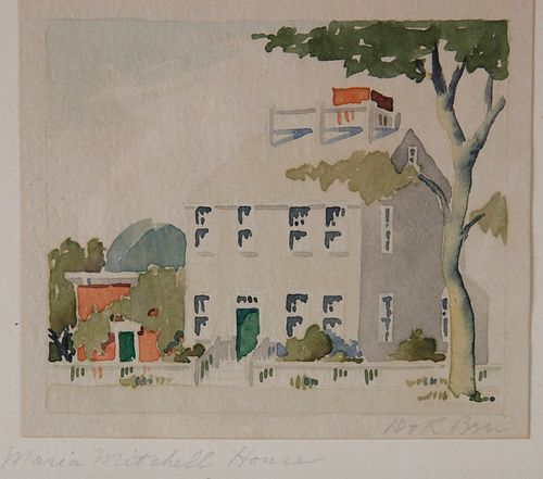 """Doris and Richard Beer Watercolor on Paper """"Maria Mitchell House"""""""