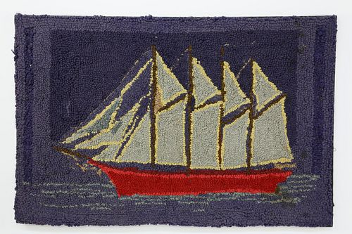 Antique 19thC. American Folk Art Hooked Rug