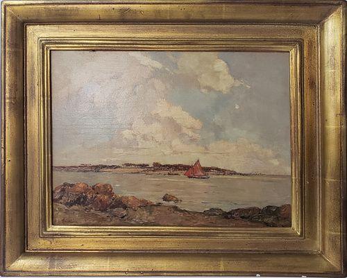 "Ernest Germain Vauthrin Oil on Panel, ""La Voile Rouge"""