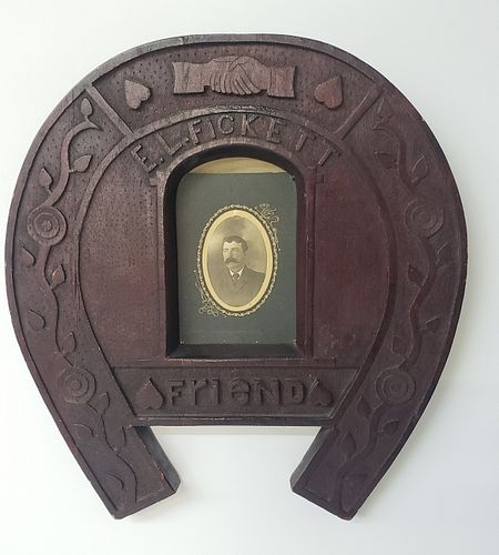 "Folk Art Chip Carved, ""E.L. Fickett Friend"", Lucky Horseshoe Plaque, 19th Century"