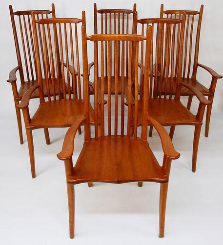 Set of Six Stephen Swift Cherry Highback Armchairs