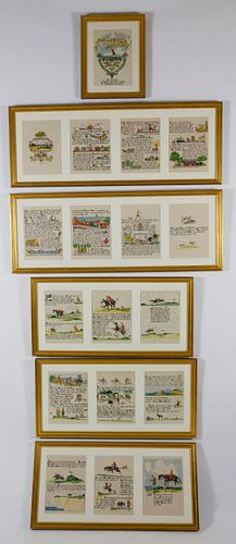 """Set of Six Framed Tony Sarg's """"Mary and Freckles in Nantucket"""" Color Illustrated Book Plates"""