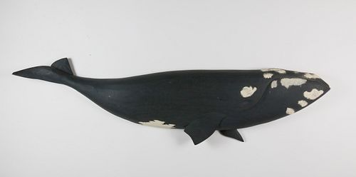 Vintage Carved and Painted Right Whale Plaque