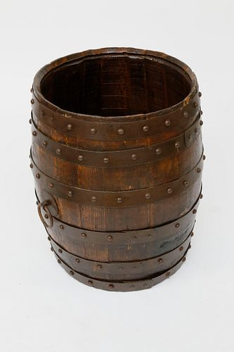 Antique Oak and Iron Wine Barrel